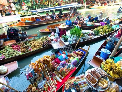 Chợ nổi Damnoen Saduak ở Bangkok